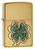 Zippo Four Leaf Clover Emblem Pocket Lighter, Brushed Brass