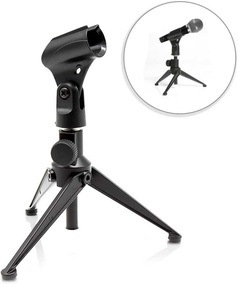 Pyle Desktop Tripod Microphone Stand - Adjustable Height 4.7'' to 8.7'' Inch High with Heavy Duty Clutch Support Weight 5 Lbs. - Ideal for Recording Podcast or Desktop Application PMKSDT25
