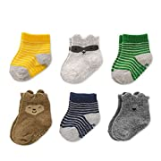 Baby Boys Socks 6 Pack with Non-Slip Grippers, Crew- Forest Animals, 0-3 Months