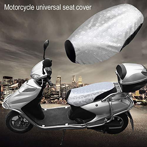 MINBB Motorcycle Seat Cover PU Leather Silver PVC L Pads Heatproof Anti-Slip E-Bike Waterproof Scooter Sun Protection