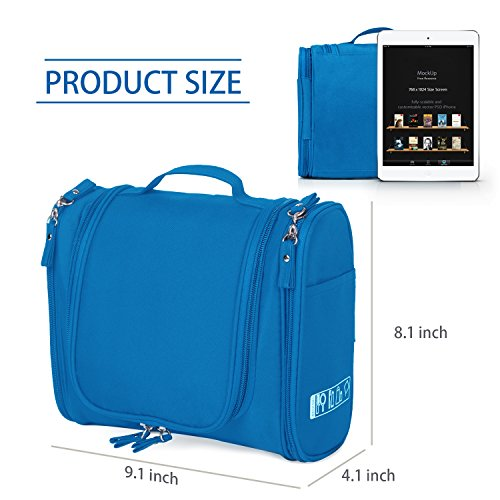 a822f0c538 Amazon.com  Hanging Toiletry Bag Travel Cosmetic Kit - Large Essentials  Organizer - Sturdy Hook Makeup bag - Heavy Duty Waterproof for Men and  Womens ...