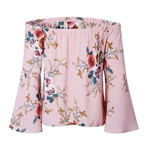 Carmen Off Fille Battercake Dame Manches Shoulder Shirts Plage Haut Modle Blouse Et Printemps Rose Long Mode Femme Fleur Jeune Loisir Chemisiers lgant Casual Large Sq5zwq