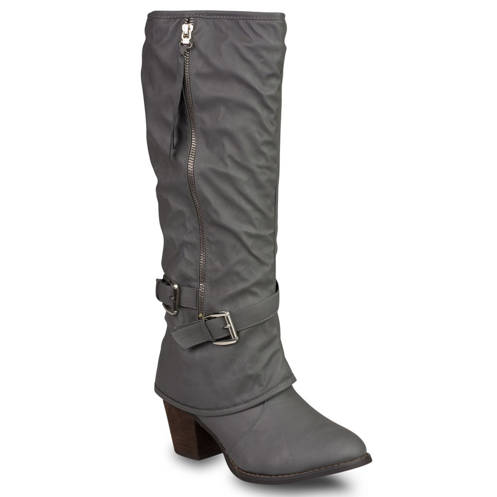 Twisted Women's Faux Leather Zip-Up Mid Heel Boots with Buckle Straps - GREY, Size 10