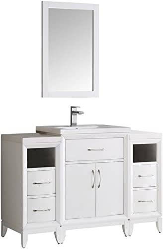Fresca Cambridge 48 White Traditional Bathroom Vanity w Mirror