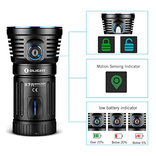OLIGHT X7R Marauder USB TYPE-C rechargeable 12,000 Lumen LED flashlight/searchlight, 4 X 18650 rechargeable batteries with GrapheneFast battery case by OLIGHT (Image #3)