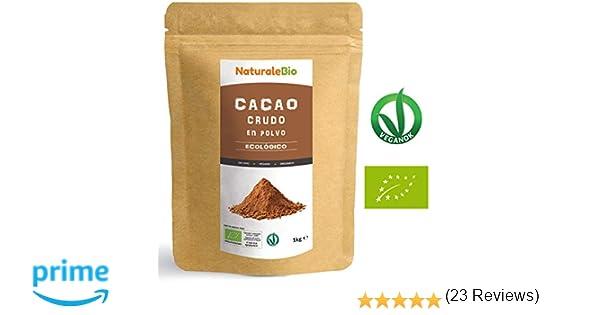 Cacao crudo Ecológico en Polvo 1kg | Organic Raw Cacao Powder | 100% Bio, Natural y Puro | Producido en Perú a partir de la planta Theobroma Cacao | Rico en ...