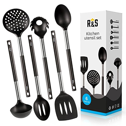 Kitchen Utensil – 6 Best Kitchen Utensils Set – Black Nylon Cooking Utensils – Kitchen Tools Gadgets.