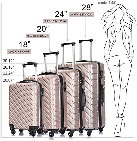 4 PCS Luggage Sets with Spinner Wheels,Carry On Suitcase,Luggage Hardshell Travel Luggage Sets Champagne
