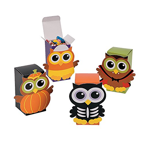 Cardboard Halloween Owl Favor Candy Boxes - 12 pieces (Simple Scary Halloween Treats)