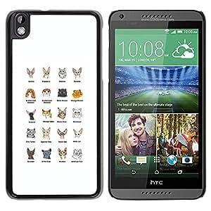 PC/Aluminum Funda Carcasa protectora para HTC DESIRE 816 Cat Breeds Sphynx Scottish Fold Himalayan / JUSTGO PHONE PROTECTOR