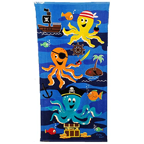 Royal Pacific Youth Beach or Bath Towels, 50 Inches Long by 25 Inches Wide (Pirate Octopus)