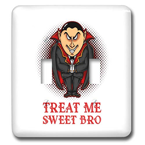 3dRose Alexis Design - Holidays Halloween - Image of an elegant vampire. Treat Me Sweet Bro. Halloween theme - Light Switch Covers - double toggle switch -