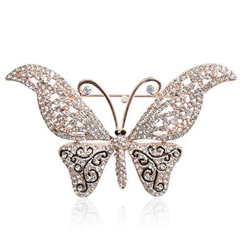 - 61 Style Women Retro Rhinestone Crystal Flower Wedding Bridal Corsage Brooch Pin   StyleID - #8_ Butterfly Brooch 6.6CM4.