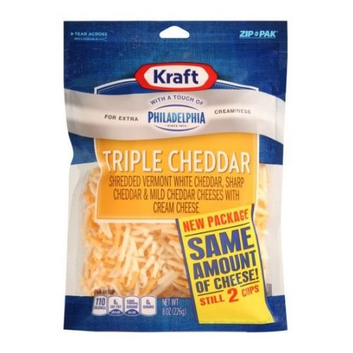 Kraft Zip Pak Natural Shredded Triple Cheddar Cheese, 8 Ounce -- 12 per case.