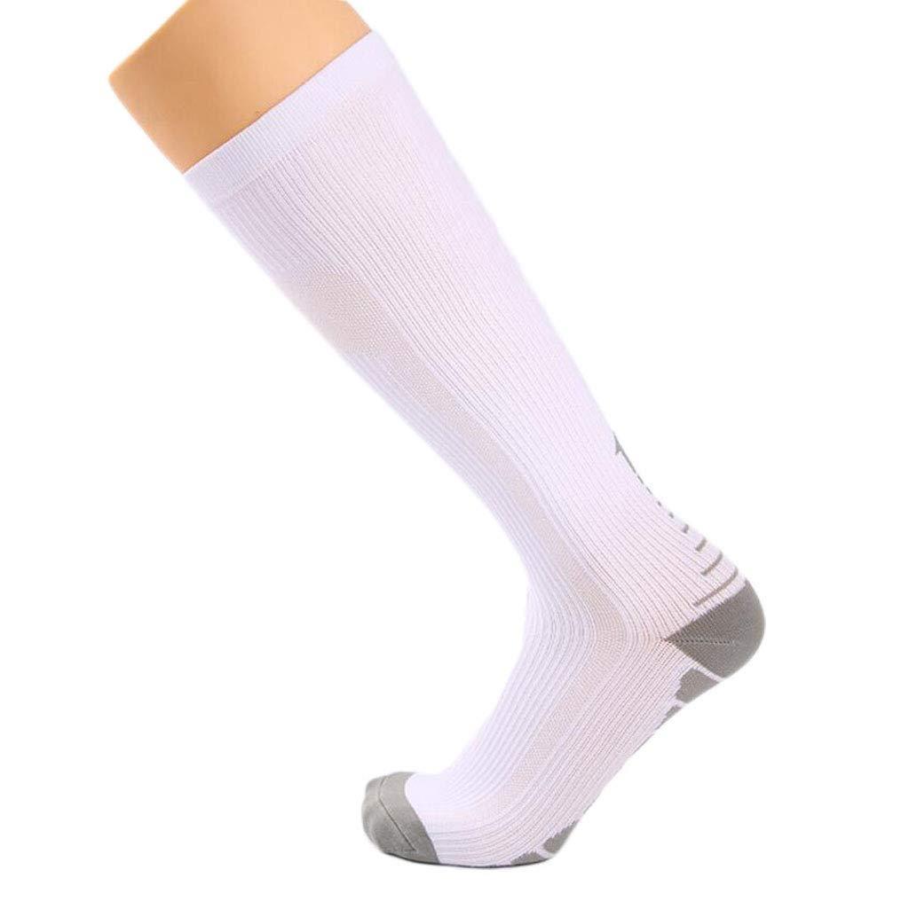 ZJEXJJ Chaussettes de Compression pour Hommes et Femmes (Compression, Graduée,) (Idéal pour Le Sport, Le Travail, Le vol, la Grossesse) (Couleur : Blanc, Taille : One Size)