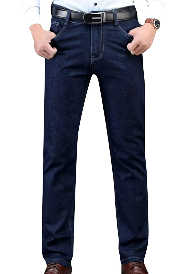 Comaba Men Official High Waist Straight Leg Stay Warm Jean Pants