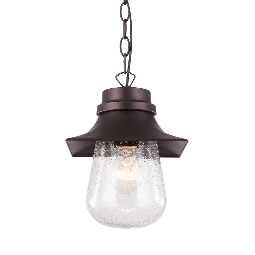 BETLING Outdoor Pendant Light Porch Hanging Lantern, Oil Rubbed Bronze with Clear Seeded Glass