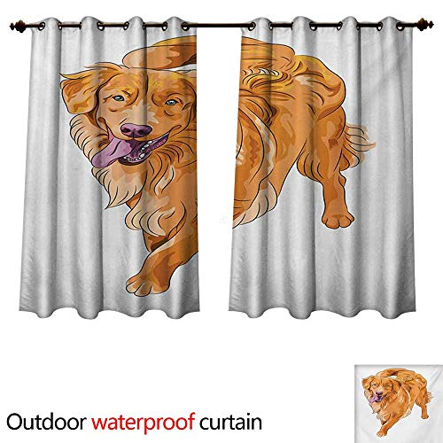 WilliamsDecor Golden Retriever Outdoor Curtain for Patio Playful Dog Running with a Smiling Face Best Friend and Companion W96 x L72(245cm x 183cm) ()