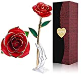 PUTIA Gold Rose 24k Gold Dipped Rose Everlasting Long Stem Real Rose Exquisite Holder, Unique Romantic Gift Valentine's Day Forever Rose, Anniversary, Mother's Day Birthday Gift