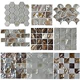 Art3d Mother of Pearl (MOP Shell) Mosaic Tiles, 9 Samples