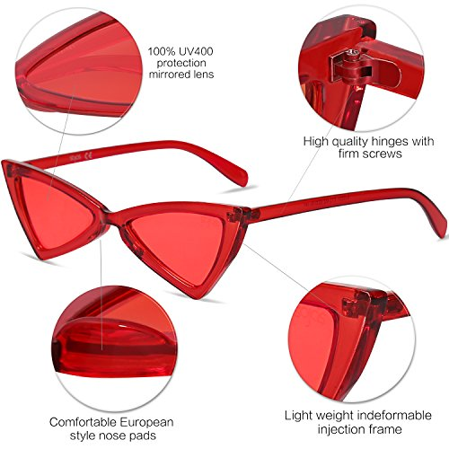 Women Sj2051 Red clear Lens Cateye Triangle Men Pointed High Small Glasses Frame Sojos Sunglasses C13 For FBwp7I