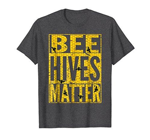 Bee Dark T-shirt - Mens Beekeeper SHIRT BEE HIVES MATTER Beekeeping Birthday Gift Large Dark Heather