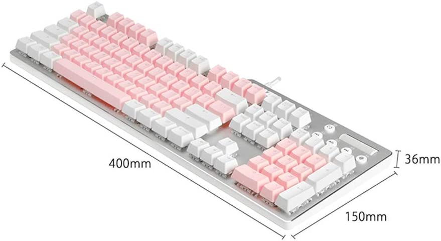 Mechanical Keyboard Wired Laptop Desktop External USB Office Internet Cafe Gaming Peripheral Home Color : Pink White and White Backlight