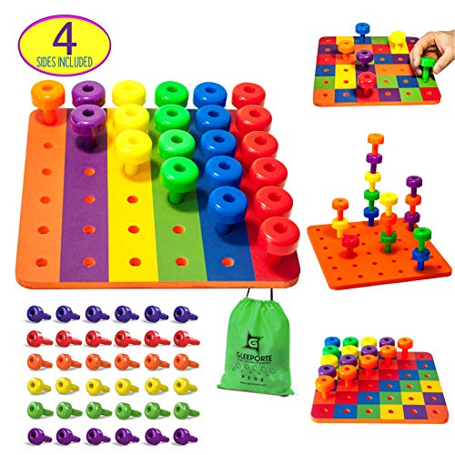 Patterned Stacking Peg Board Set Toy | Montessori Occupational Therapy Early Learning For Fine Motor Skills, Ideal for Toddlers and Preschooler, Includes 36 Plastic Pegs & 2 Boards, 4 Sides | Storage