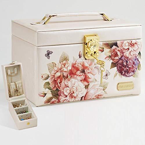 NineDays Jewelry Box, Ladies Retro European Print Wooden Lock Jewelry Box Storage Box, Pearl Necklace Bracelet Gift Best (Multi-Color ()