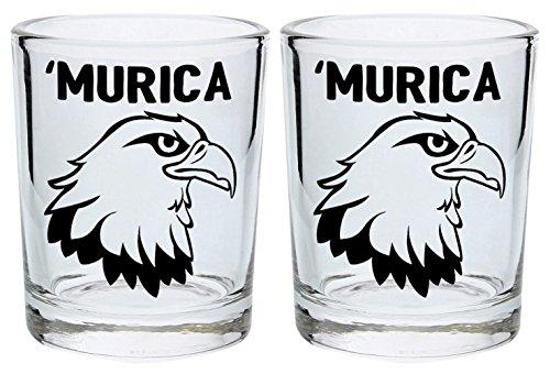 Funny Shot Glasses Murica Bald Eagle Merica Funny Patriotic 4th of July Gift Shot Glasses 2-Pack Round Shot Glass Set Black