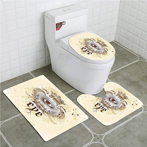 - BEISISS Bathroom Mat Sets 4 Piece-Non-Slip - Short Plush Eye Artistic Vintage Emblem Eye Victorian Laurel Branches Crown Calligraphy Bathroom Rug + Contour pad + lid Toilet seat+Toilet seat Cushion
