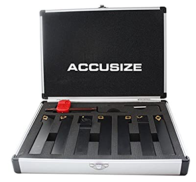 "AccusizeTools - 7 Pieces/Set 3/4"" Indexable Carbide Turning Tool Set in Fitted Box, #2387-2006"