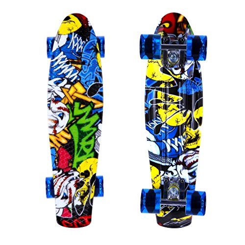 ENKEEO 22 Inch Cruiser Skateboard Plastic Banana Board with Bendable Deck and Smooth PU Casters for Kids Boys Youths Beginners, 220 Ibs, Joker Pattern