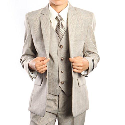 TAZIO Boys Suits 3-Piece Glen Plaid Tuxedo Suit Set With Free Matching Shirt & Tie big discount