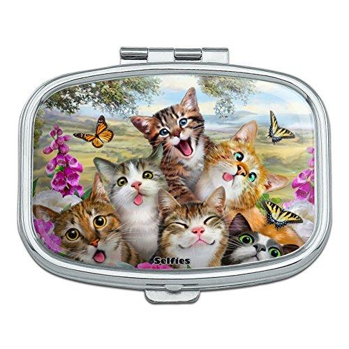 Cats and Butterflies Selfie Rectangle Pill Case Trinket Gift ()