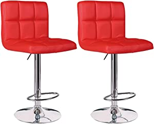 Adjustable Counter Height Bar Stools, Set of 2 Kitchen Stools Chairs for Bar Modern PU Leather Swivel Stool Bar Chairs with Back (Red, 1)