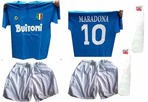 Corni Amuleto Maradona Azzurra Calzettoni Buitoni T C3 Ricordo Omaggio Pantaloncini Maglia Cotone Napoli shirt Completino Stampata Bianchi aOZBgxpnnq