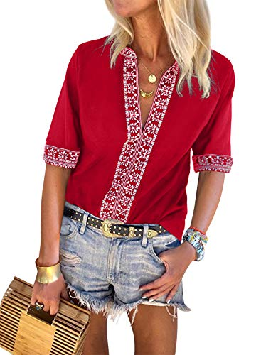 (LOSRLY Womens Boho Embroidered V Neck Tribal Printed Casual Tops and Shirts Blouses XL)