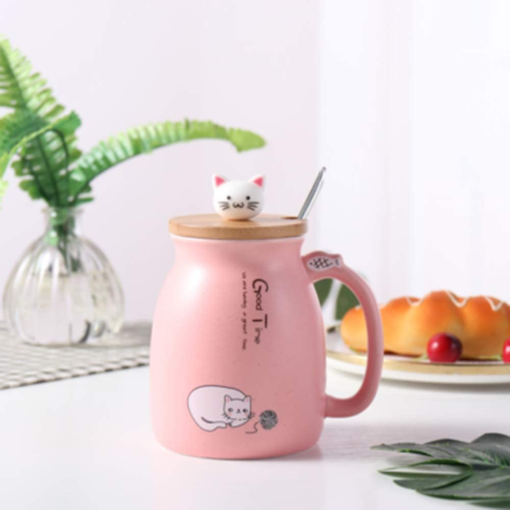 Cat Mug Cute Ceramic Coffee Cup with Lovely Kitty wooden lid Stainless Steel Spoon,Novelty Morning Cup Tea Milk Christmas Mug Gift