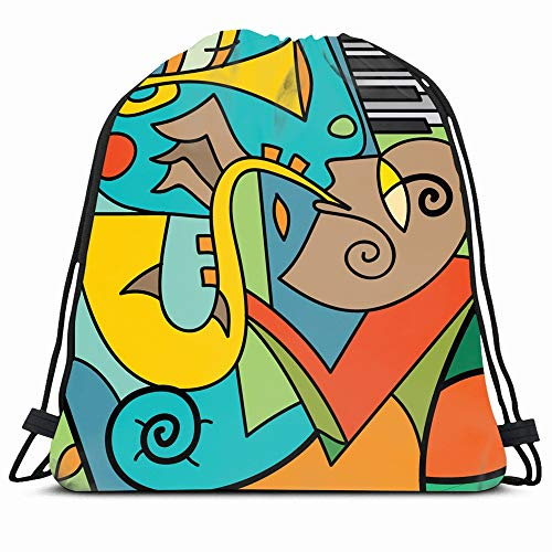Ahawoso Drawstring Backpack String Bag Blue Cubism Jazz Saxophone Player Piano Music Club Abstract Colorfull Festival Outline Trumpet Sport Gym Sack Hiking Yoga Travel Beach (Best Trumpet Players Of All Time)