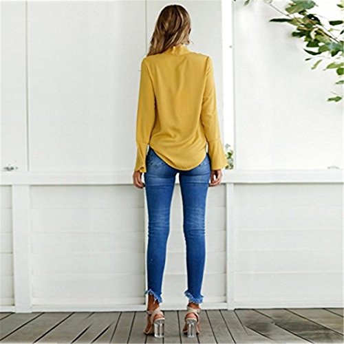 V Tops Maglia Camicia T Collo Lunga Donna Shirt Maglietta Elegante Camicetta qC8PwW