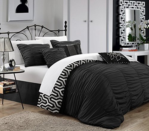 Chic Home 7 Piece Lessie Pleated Contemporary Comforter S...