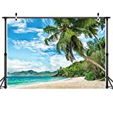 LYWYGG 7x5FT Palm Trees Summer Blue Ocean Backdrops Photography Cloth Vinyl Photo Backgrounds Hawaiian Beach Photographic Wedding Backgrounds Props Backgrounds CP-8