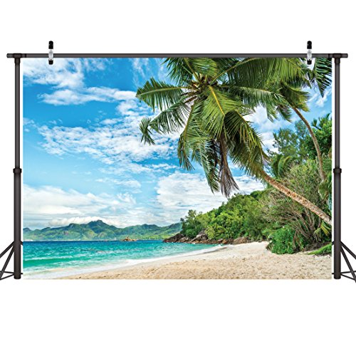 LYWYGG 7x5FT Palm Trees Summer Blue Ocean Backdrops Photography Cloth Vinyl Photo Backgrounds Hawaiian Beach Photographic Wedding Backgrounds Props Backgrounds CP-8 by LYWYGG