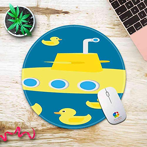 (Round Mouse Pad Mousepad with Rubber Duck,Duckies Swimming in The Sea with a Yellow Submarine Kids Party Nautical Print,Navy Blue Pattern Gel Rubber for Gaming Office - 200MMx3MM)