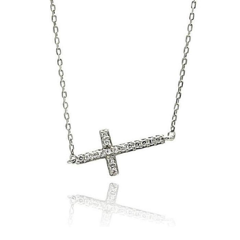 SURANO DESIGN JEWELRY Sterling Silver Cross Pendant w//Mother of Pearl /& Cubic Zirconia Stones