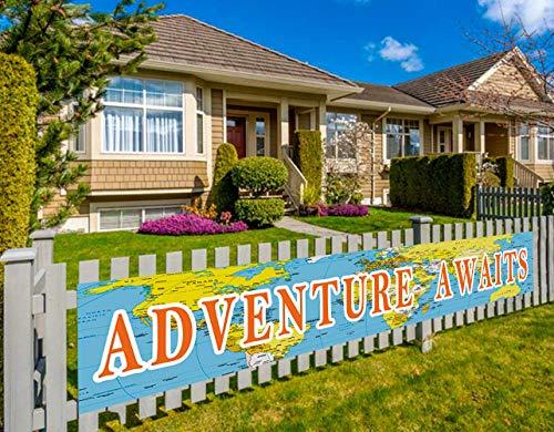 Bon Voyage Signs (Colormoon Larger Adventure Awaits Banner, Bon Voyage, Travel Theme Banner, Birthday, Baby Shower, Graduation, Retirement Party Decorations (9.8 x 1.5)
