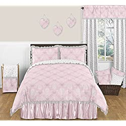 Pink, Gray and White Shabby Chic Alexa Damask Butterfly 3 Piece Girls Full / Queen Bedding Set
