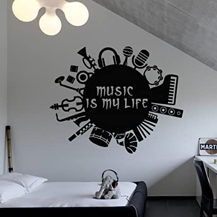 Wall Decal Vinyl Sticker Decals Art Decor Design Music Is My Life Inscription Guitar Headphones Drum