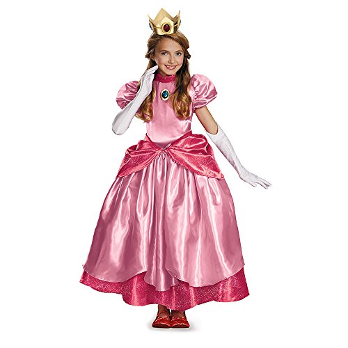 [Disguise Nintendo Super Mario Brothers Princess Peach Prestige Girls Costume, Small/4-6x] (Princess Peach Costumes Women)